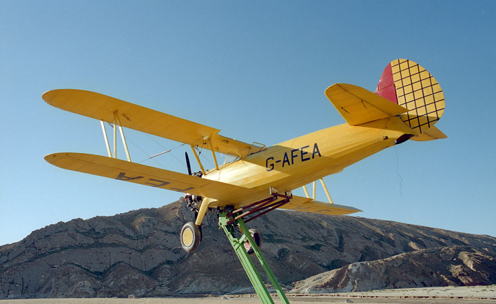 three quarter rear view Stearman