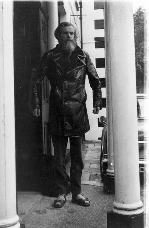 Lionel Miskin in leathers outside entrance
