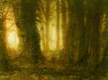 Trees in mist - Wooburn Green (gum bichromate with watercolours)