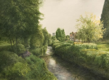 River Wye in Wooburn Town (watercolour)
