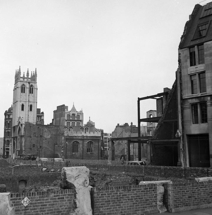 Long Memory-St. Alban Church, Wood Street - only the tower survives today. Taken from Aldermanbury Square.