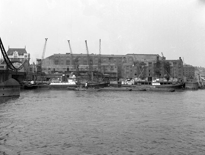 The Long Memory-View of St. Katherine Dock next to Towe Bridge. The General Steam Navigation Company in the background.