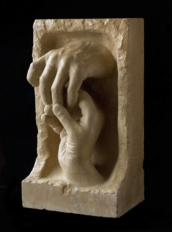 Lincoln Limestone touching hands
